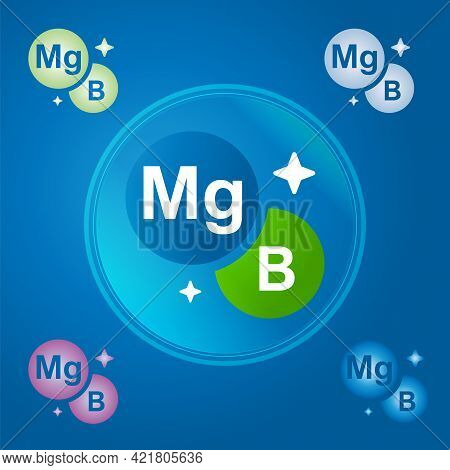 Complex Of Vitamins Magnesium And Vitamin B Vector Icon. Mineral Complex To Improve Metabolism