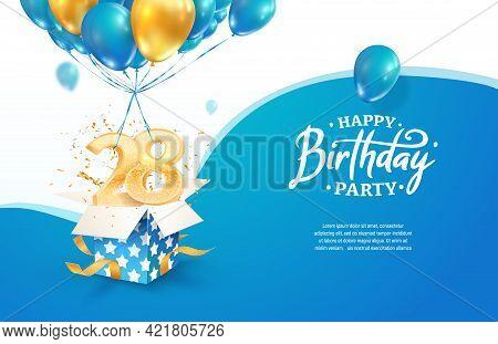 Celebrating 28th Years Birthday Vector Illustration. Twenty Eight Anniversary Celebration. Adult Bir