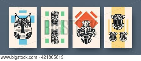 Set Of Contemporary Art Posters With Traditional Masks. Vector Illustration. .collection Of African