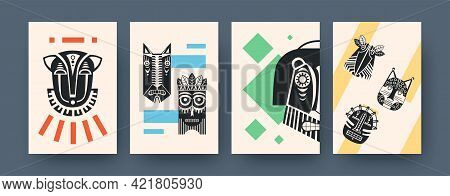 Set Of Contemporary Art Posters With Facial Tribal Masks. Vector Illustration. .collection Of Africa