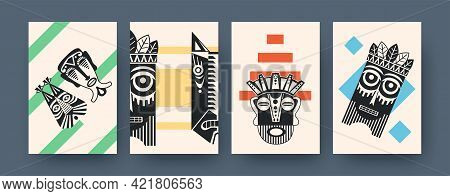 Set Of Contemporary Art Posters With Ceremonial Masks. Vector Illustration. .collection Of African T