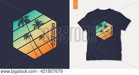 California Graphic T-shirt Design With Palm Tress, Summer Retro Print, Vector Illustration.