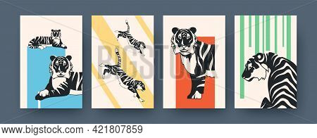 Set Of Contemporary Art Posters With Big Tiger. Vector Illustration. .collection Of African Feline P