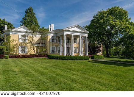 Wheeling, Wv - May 18, 2021: The Restored Mansion Museum At Oglebay Resort Near Wheeling West Virgin