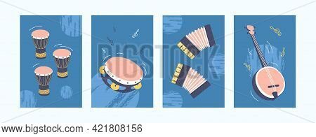 Musical Instruments Set In Pastel Colors. Collection Of Art Posters In Retro Style. Drums, Tambourin