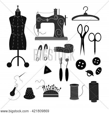 Tailoring Tools - Set In Black And White. Mannequin, Needles And Thread, Sewing Machine, Thimble And