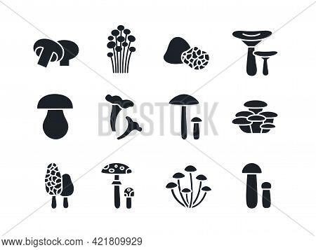 Mushrooms Silhouette Set. Black Vector Silhouettes. Fill Solid Icon. Modern Glyph Design. Champignon