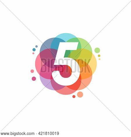 Abstract 5 Logo Designs Concept Vector, Colorful Number 5 Logo Designs