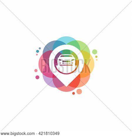 Colorful Car Point Logo Vector, Car Finder Logo Designs Template, Design Concept, Logo, Logotype Ele