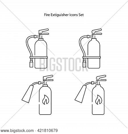 Icon Set Of Fire Extinguisher Isolated On White Background. Sign Of Fire Extinguisher.