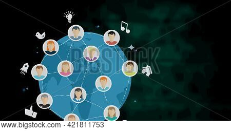 Composition of network of business icons over globe on black background. global networking, business and digital interface concept digitally generated image.