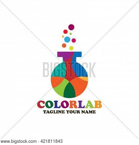 Colorful Lab Illustration Design Logo Vector. Lab Logo Vector