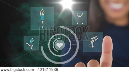 Composition of smiling businesswoman touching screen with sports digital icons. sport, digital interface, technology and communication concept digitally generated image.