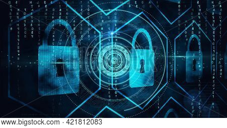 Composition of scope scanning and digital online padlocks and data processing on black background. global business, technology and digital interface concept digitally generated image.