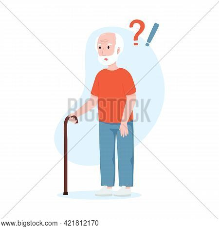 Elderly Man With Question Marks. Senile Dementia Concept.