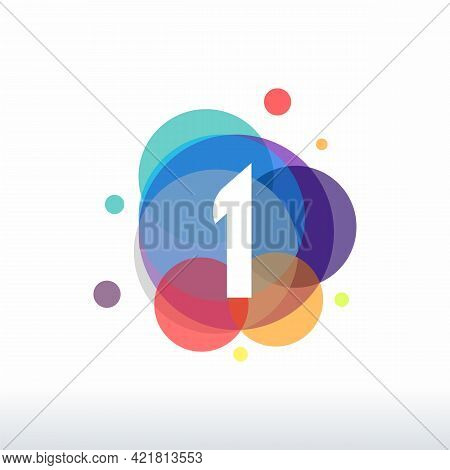 Abstract 1 Logo Designs Concept Vector, Colorful Number 1 Logo Designs