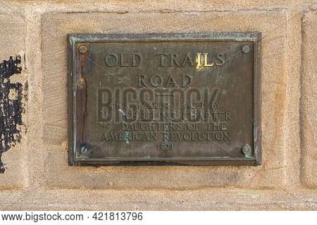 Wheeling, Wv - May 18, 2021: Plaque On Old Suspension Bridge Carrying The Old Trails Road Over The O