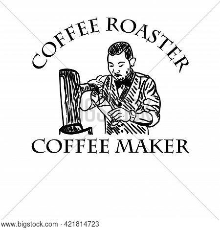 Coffee Maker Design Logo Vector. Coffee Maker Design Logo Restaurant