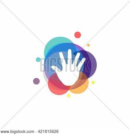 Colorful Raised Hand Logo Logo Vector, Charity Logo Designs Template, Design Concept, Logo, Logotype