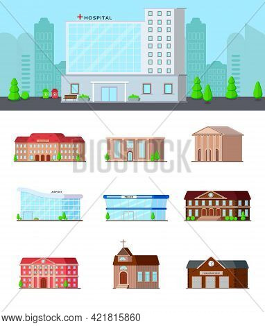 Municipal Buildings Flat Set Of Isolated Icons On Blank Background With Hospital In City Landscape C
