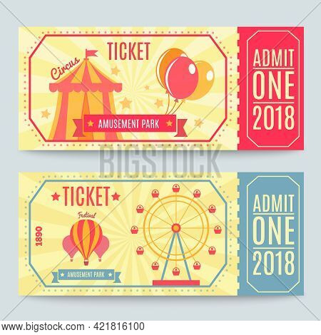 Amusement Park Tickets Collection Of Two Printed Coupons With Flat Fairground Attraction Images And