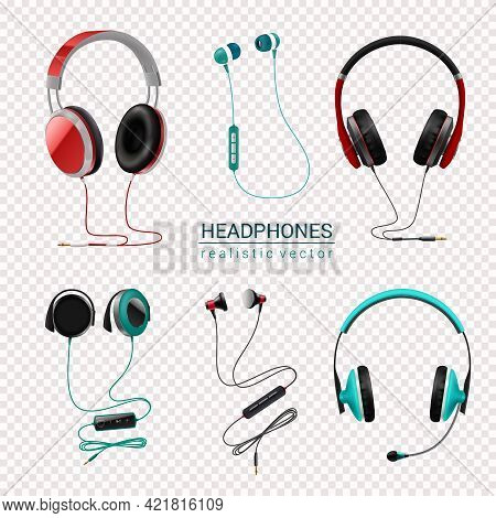Headsets Earphones Various Types Earbuds In-ear Headphones Realistic Colored Set Transparent Backgro