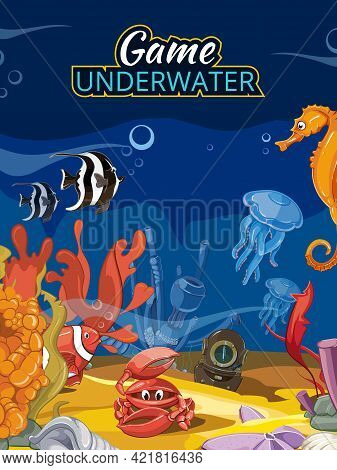 Underwater World Computer Game.  Ocean Fish And Fauna Wildlife Jellyfish Starfish And Crab Illustrat