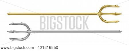 Gold, Silver Trident, Devil Pitchfork Isolated On White Background. Vector Realistic Set Of Mytholog