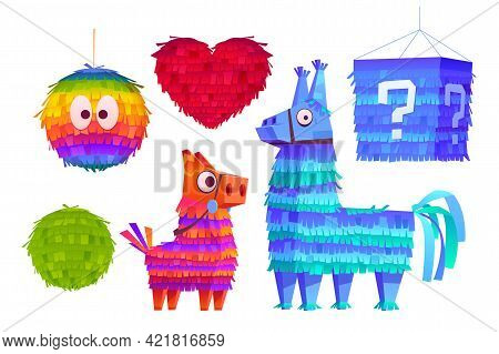 Pinata For Birthday Party, Mexican Holiday And Carnival. Funny Toy From Crepe Paper With Candies Or