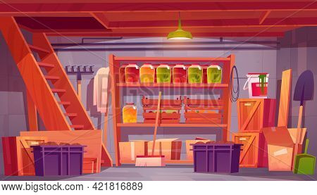 Storage Room In House Basement With Food Preserves On Shelves, Garden Tools And Boxes. Vector Cartoo