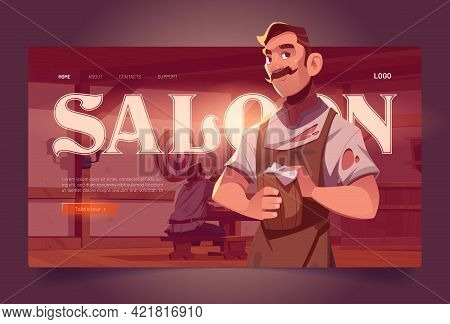 Saloon Cartoon Landing Page, Old Style Tavern Interior With Barista Holding Wooden Tankard And Visit
