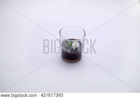 Isolated Image Dark Chocolate Mousse With Whipped Cream,arranged In A Serving Glass With White Textu
