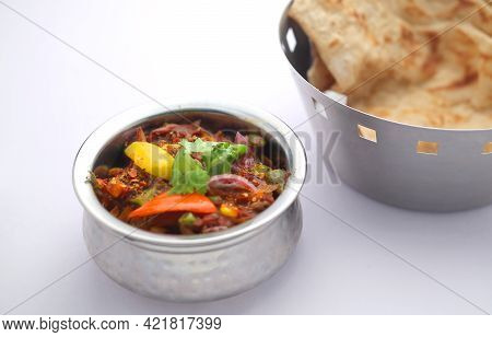 Indian Dish_veg Kolhapuri, North Indian Dish Arranged In A Steel Bowl Which Is Made Using Mixed Vege