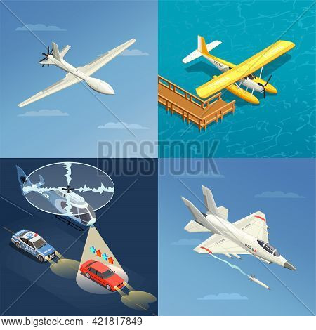 Airplanes Helicopters Isometric 2x2 Design Concept With Images Of Different Purpose Aircrafts For Mi