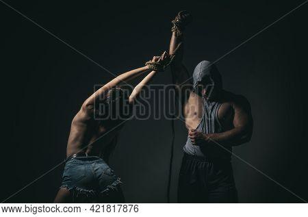 Couple Bdsm. Sex Domination. Sexy Woman Slave. Bondage Roleplay. Relationships Manipulation.