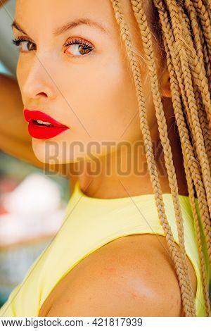 Closeup Sensual Female Portrait. Fashion Woman With Long Hair Dreadlocks. Outdoor Girl.