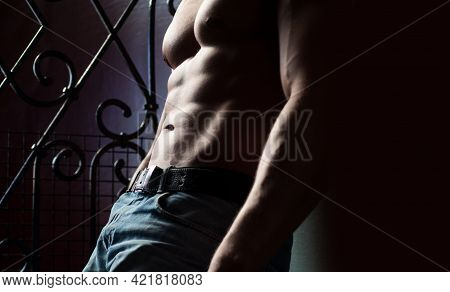 Man Nude Torso. Fitness Male Abs And Body. Naked Man. Nude Male. Sexy Guy Body.