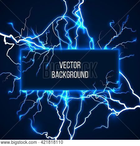 Vector Banner With Lightnings And Discharge Current. Electricit, Voltage Storm, Weather Nature Illus