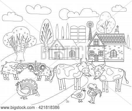 Farm Animals Coloring Vector Photo Free Trial Bigstock
