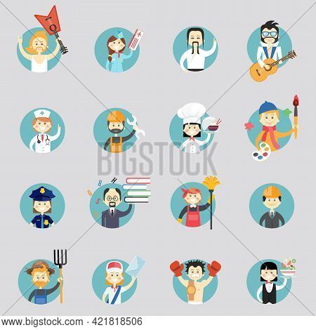 Badges With Avatars Of Different Professions With Musicians  Martial Arts  Doctor  Construction Work