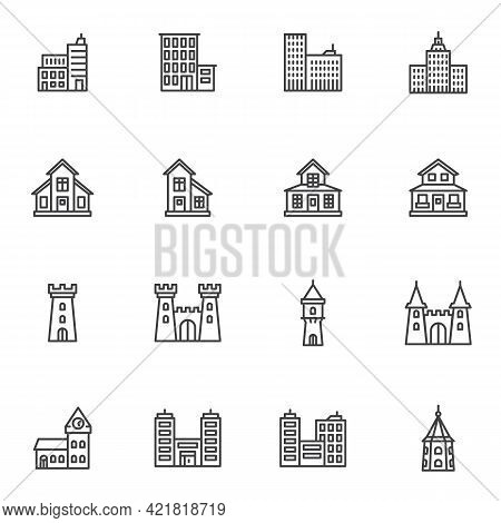 Types Of Buildings Line Icons Set, Outline Vector Symbol Collection, Linear Style Pictogram Pack. Si