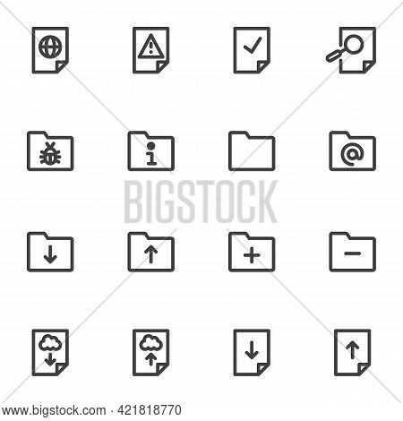 File And Folder Line Icons Set, Outline Vector Symbol Collection, Linear Style Pictogram Pack. Signs