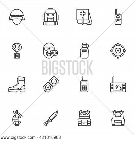 Military Equipment Line Icons Set, Outline Vector Symbol Collection, Linear Style Pictogram Pack. Si