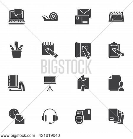 Office Workspace Vector Icons Set, Modern Solid Symbol Collection, Filled Style Pictogram Pack. Sign