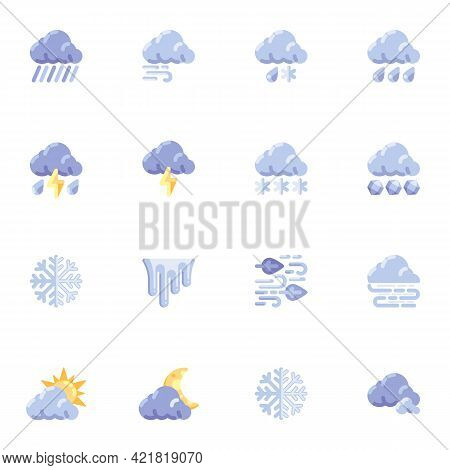 Meteorology Weather Elements Collection, Forecast Weather Flat Icons Set, Colorful Symbols Pack Cont