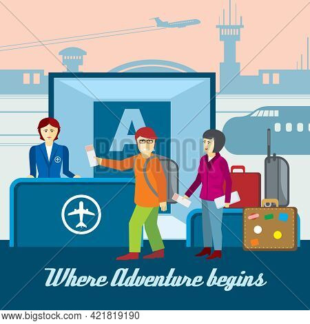Airport Background In Flat Style. Boarding And Passport Control, Ticket And Tourism Llustration. Tra