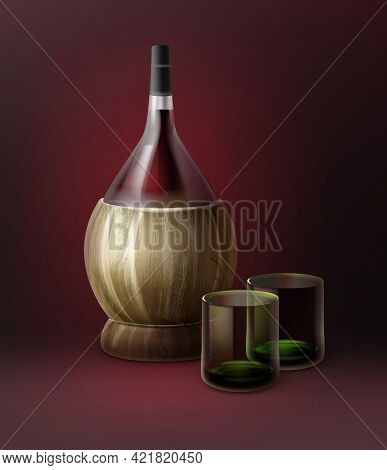 Vector Fiasco Bottles Of Wine And Two Glassfuls Isolated On Dark Red Background