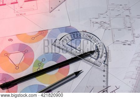 Architecture Plan Of The House, Palette Of Colors Designs For Interior Works. Projects Of Houses. In