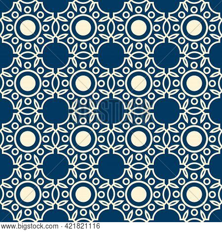 Abstract Lacy Seamless Pattern Formed By White Lines On Blue Background With Rounds And Leaves Flat