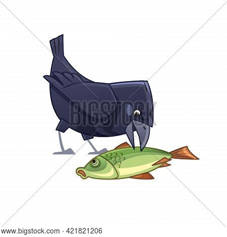 Cartoon Crow Eats Fish. Raven Bird Character. Vector Illustration Isolated On White Background